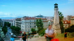 Cityscape view of Marseille from the main straircase of railway station Stock Footage