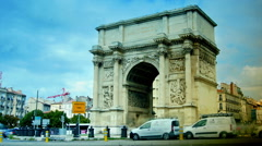View of Triumphal Arch in Marseilles, Porte d'Aix, time lapse, Stock Footage