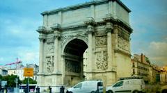 View of Triumphal Arch in Marseilles, Porte d'Aix, time lapse, - stock footage
