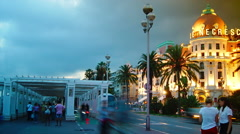 Hotel Negresco is the famous luxury hotel on the Promenade des Anglais in Nice Stock Footage