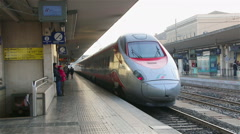 "Bologna - January 2015 Departure of high-speed train ""White Arrow"" from the trai Stock Footage"