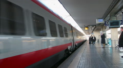 Bologna - January 2015 Arrival of high-speed train White Arrow at the station in Stock Footage