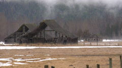 Abandoned barns long shot Stock Footage