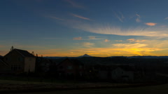 Time Lapse of Sunrise in Happy Valley Oregon with Snow Covered Mount Hood 1080p Stock Footage