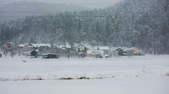 Snow blizzard in countryside Stock Footage