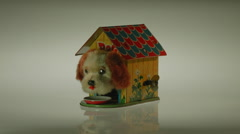 WIND-UP TOY DOG.  VINTAGE TOYS. Stock Footage