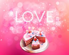 Vector inscription love on a pink background with big cake Stock Illustration