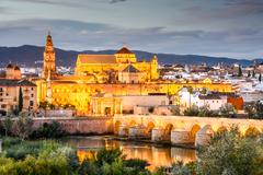 cordoba, spain mosque - cathedral skyline - stock photo