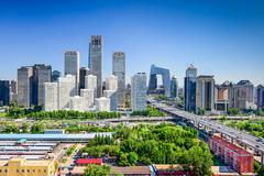 beijing china financial district skyline - stock photo