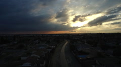 Aerial Suburban Riverbed at Sunset - stock footage