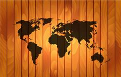 World map on wooden background Piirros