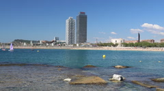 Beach in Barcelona, Spain Stock Footage