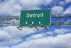 Highway interstate Sign of Detroit Stock Photos