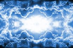 Stock Illustration of dramatic blue clouds border