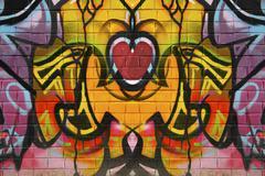 abstract graffiti heart on a brick wall - stock illustration