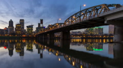 Time Lapse of Portland Oregon Cityscape and Water Reflection at Blue Hour 1080p Stock Footage