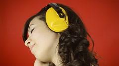 Music woman red headphones sweet - stock footage