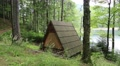 Wooden summerhouse by Synevir lake in Carpathian Mountains, Ukraine Footage