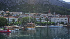 Makarska, panorama of the harbor Stock Footage
