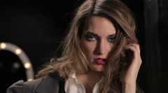 Close-Up Of Beautiful Professional Fashion Model Posing In Studio Stock Footage
