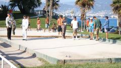 Pétanque players in Nice, France. Stock Footage