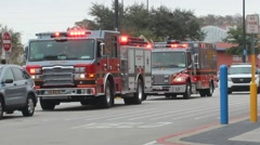 Fire truck and paramedic trucks lights flashing Stock Footage