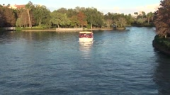 Water Barge / Water taxi on Lake in Sunlight Stock Footage