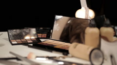 Professional Make-Up Powders And Blushers Assorted On Beauty Table - stock footage
