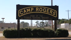 Tracking shot of Camp Rogers sign Stock Footage