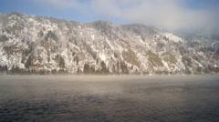 River Yenisei Frosty Mist Winter Day - stock footage