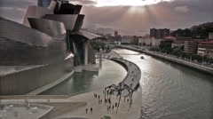 Bilbao Museum and the river Stock Footage