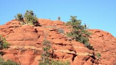 Sedona Arizona people on red rock mountain overlook HD 020 Stock Footage