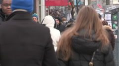 Busy streets sidewalks traffic congestion in downtown Toronto on winter day. Stock Footage