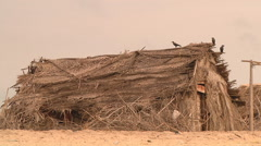 Coastal shacks at Rameswaram in Tamil Nadu, India Stock Footage