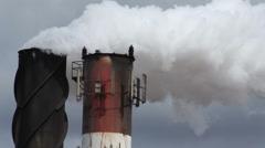 Billowing Smokestack, White Smoke, Close Stock Footage