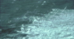 Japan 70s 16mm Rough Water Ocean Spray Doves - stock footage