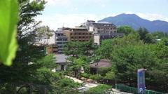 Buildings In Forest Town Near Mt Fuji Japan 4K Stock Footage