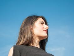 Beautiful look of a beautiful girl in a sunny day Stock Photos