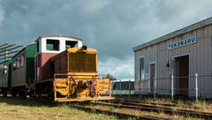 tokomaru railway station with a small diesel engine. - stock photo