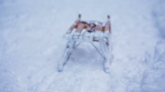 Empty sleigh sliding down the hill Stock Footage