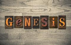 Genesis wooden letterpress concept Stock Photos