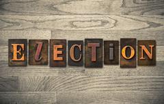 Election wooden letterpress concept Stock Photos