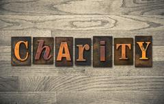 charity wooden letterpress concept - stock photo