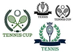 Tennis tournament emblems with rackets and balls Stock Illustration