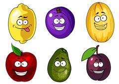 Stock Illustration of cartoon apple, plums, melon, lemon and avocado fruits characters