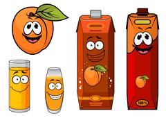 Stock Illustration of cartooned apricot juice with glasses and apricot fruit