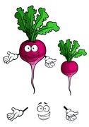 happy smiling radish vegetable in cartoon style - stock illustration