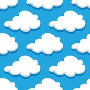 seamless cartoon cloudscape pattern on blue background - stock illustration