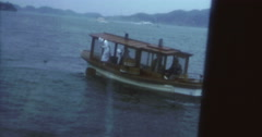 Japan 70s 16mm Ise Toba Mie Pearl Diver Boat - stock footage
