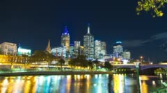 Hyperlapse Melbourne City Night Lights Southbank Yarra River Flinders Street Stock Footage
